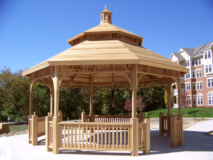 "Victorian Pavilion 24' (VK-24B) – Western Red Cedar Pavilions are 6X6 construction (Gazebos are 4X4 construction), shown with 1"" cedar tongue & groove (custom will apply his own roofing material), unpainted"
