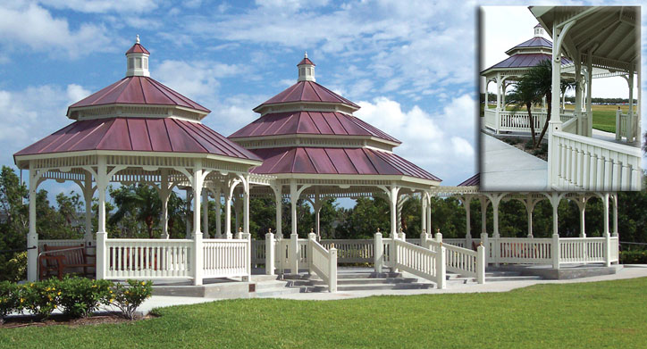 "Victorian Grand Pavilion (VKP-30) – Western Red Cedar Grand Pavilion consists of a center 30' unit flanked by two 21' units connected by walkways, with standing-seam copper roof over 5/8"" cedar tongue and groove, painted white"