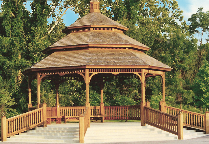 A 30 foot pavilion with ascending rails and 3 tier cedar shingle roof