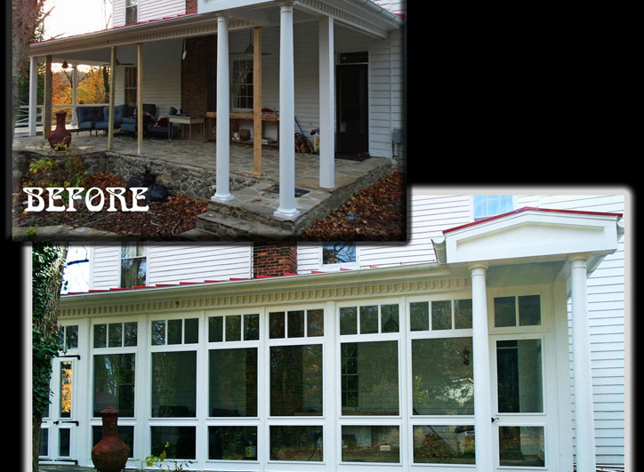 "Retrofit porch – Porch Panel Style shown 117"" with build-in transom glass on top, removable screen and glass inserts, painted white"