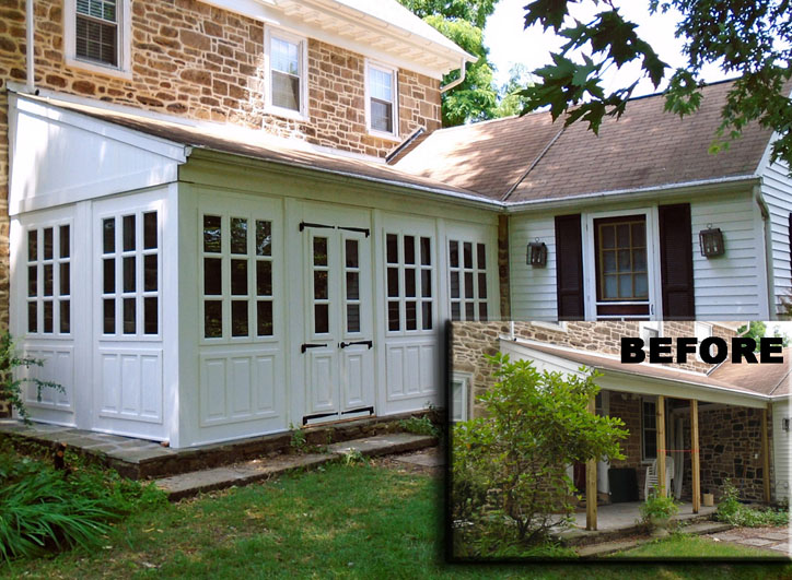 "Retrofit porch – Porch Panel Style shown 86"" with removable divided light window and raised panel inserts, painted white"