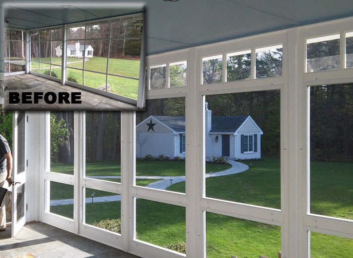 "Retrofit porch – Porch Panel Style shown 103"" with build-in transom glass on top, removable screen and glass inserts, painted white"