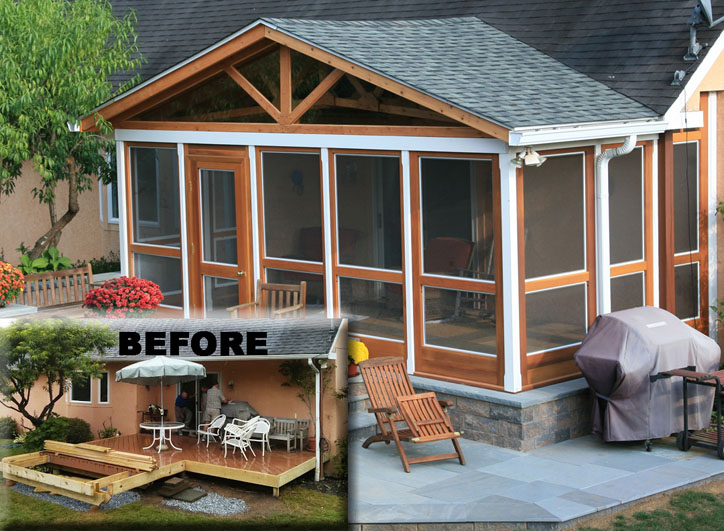 "New Construction Porch – Porch Panel Style shown 96"" with removable screen and glass, painted two-tone"