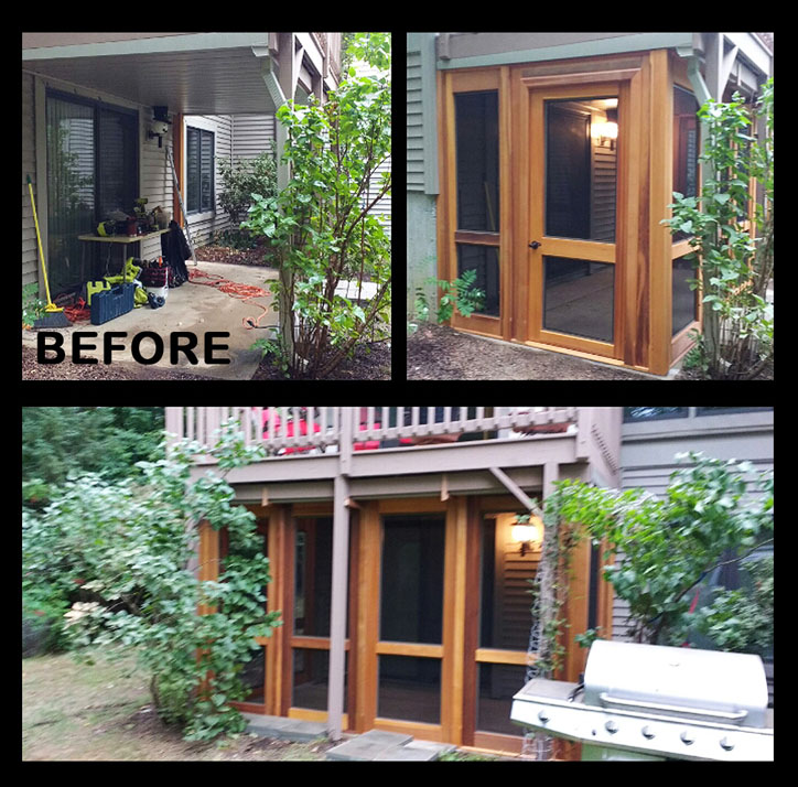 "Retrofit Porch – Porch Panel Style Shown 91"" with removable screen inserts, Sherwin Williams stain"