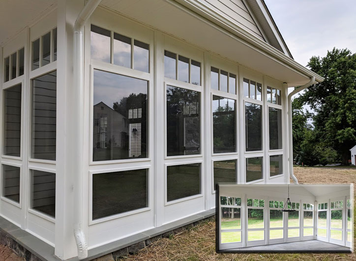 "Porch Panel Style shown 117"" with build-in transom glass on top, removable tempered glass inserts inside wood frame (also available with decorative balusters or corners), painted white, material = HYBRID (cedar, fur and composite)"