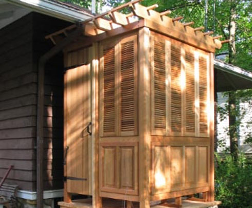 Vixen hill 39 s new shower and sauna cabana adds luxury to for Pool showers