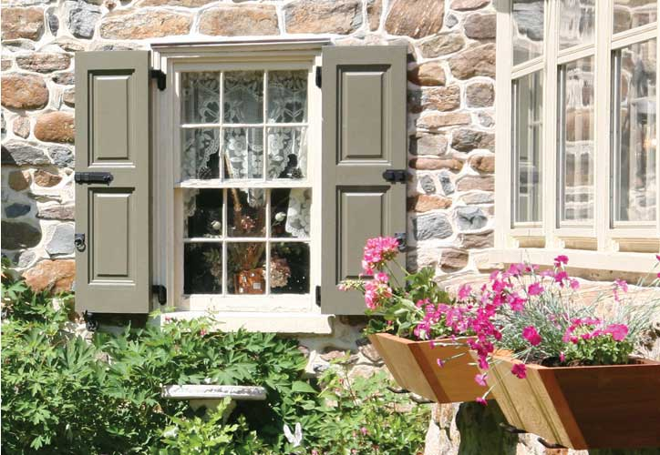 Vixen hill hardware and window boxes further accent the styling provided by our exterior wooden shutters