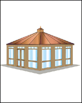 Cabana, 6x6 Construction, Hipped Roof, 12' x 12'