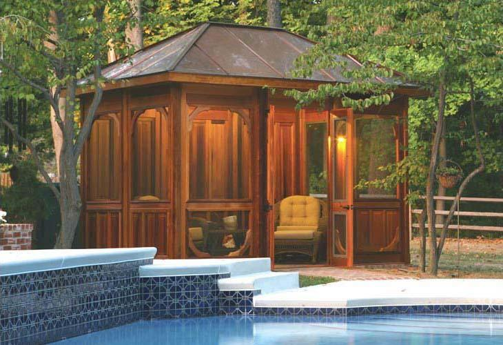 Vixen Hill Cabana, cedartone stained, with copper roof, by a poolside
