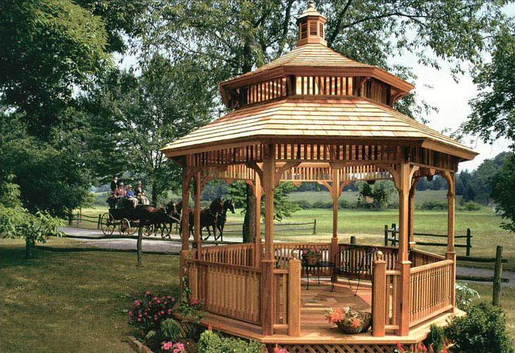 A Vixen Hill Victorian Gazebo, unfinished, with a two tier roof and floor with trellis