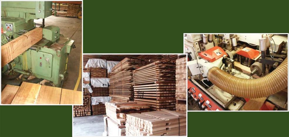 A number of images from our mill, showing the lumber and machines we use