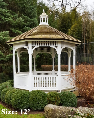 A white 12 foot Victorian Gazebo